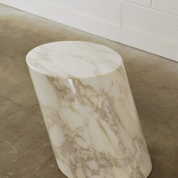 Luxurious Solid Marble Side Table Leaning Column Lucia Mercer for Knoll
