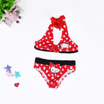 Summer Baby Girls Swimwear Kids Girls Two Pieces Swimsuit Girls Hello Kitty Biquini Infantil Swimwear Bathing Beachwear GBYS01