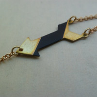 Arrow bracelet with black stripe by littlepancakes on Etsy