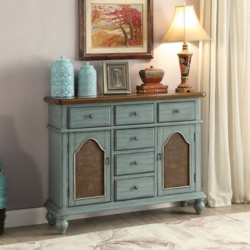 Acme 90290 Telissa antique blue finish wood hall console table