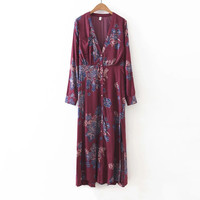 V-Neck Lower Print Slit Long Sleeve Spring Dress