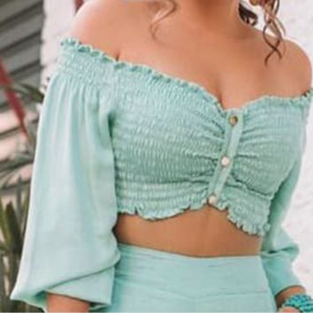 Hot style a word shoulder wrap chest long sleeve button - up shirt