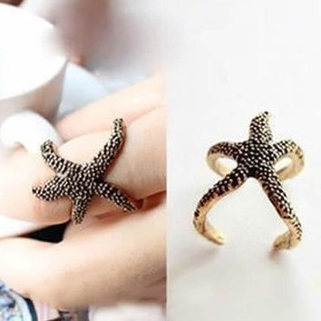 Retro Vintage Fashion Style Bronze Golden Alloy Sea Animal Starfish Ring = 1945959236