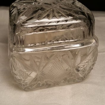 Crystal Salt Cellar with Lid and Scoop, Square Crystal Trinket Box, Pineapple Pattern Crystal Square box with scoop