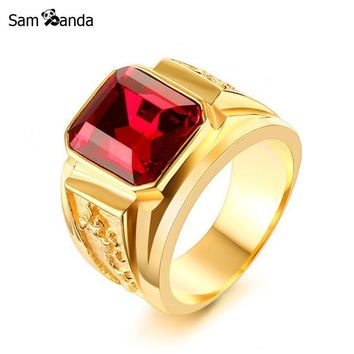 2018 Mens Figment Ring Stainless Steel Gold Tone With Red Blue CZ Stone Engraved Dragon Men Jewelry Wedding Rings For Male Anel