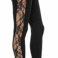 Alternative Black Side Lace Leggings