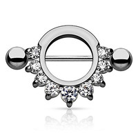Semi-Circle Black Plated Stainless Steel Nipple Ring Shield