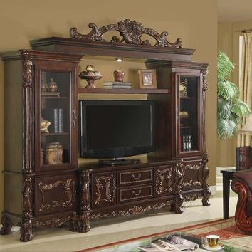 5 pc medium finish wood entertainment center wall unit with carved accents and side cabinets with bridge with crown carving