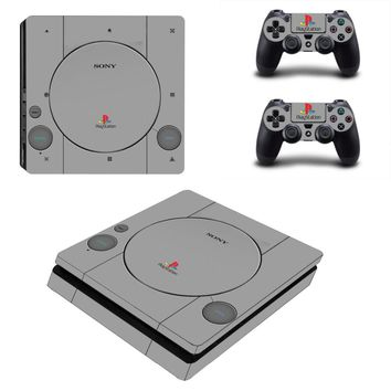 Gray Design Vinyl PS4 Slim Sticker for Sony Playstation 4 Slim Console+2pcs Skin Decal Controller Stickers