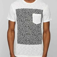 Poolhouse Squiggly Slub Pocket Tee- White