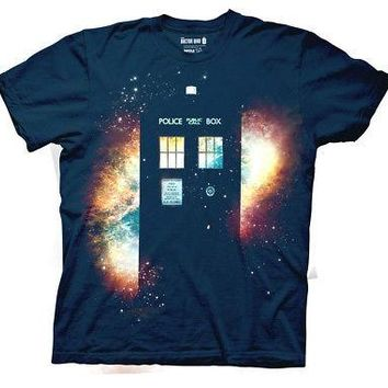 Doctor Who TARDIS In Cosmos Space Nebula Licensed Adult Unisex T-Shirt - Blue