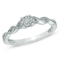 Cherished Promise Collection™ Diamond Accent Cluster Twist Shank Ring in Sterling Silver - Size 6 - Promise Rings - Gordon's Jewelers