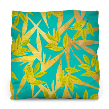 Gold and Teal Florals Outdoor Throw Pillow