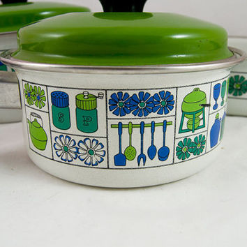 Vintage 1970s Set of 3 Mod Enamel over Steel Cookware Set - Blue, Green & White Mod Design