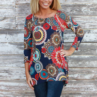 Dance With Me Geometric Circle Print Tunic ~ Navy ~ Sizes 4-10