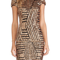 Striped Sequined Backless Short Sleeve Bodycon Mini Dress