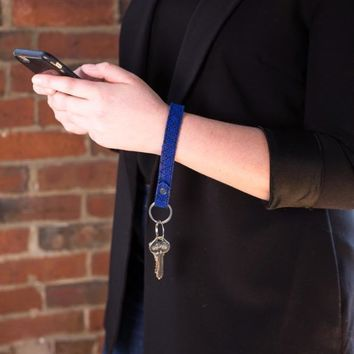 The Blue Leather Key Fob