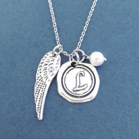 Personaliezed, Wax seal, Letter, Initial, Angel, Wing, White, Pearl, Silver, Necklace, You are my angel, Guardian, Gift, Jewelry