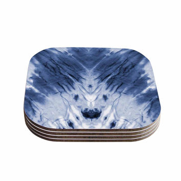"Kess Original ""Blue Dye"" White Pattern Coasters (Set of 4)"