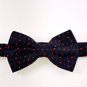 Black with Red and Blue Dots Bow Tie
