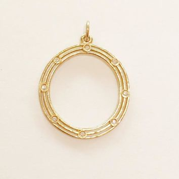 Large Double Ring Eternity Charm With 8 Diamonds