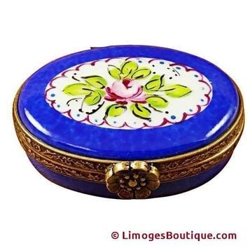 SMALL BLUE OVAL LIMOGES BOXES