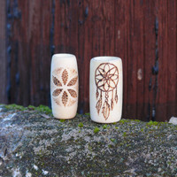 Dreadlock beads - wooden dread beadset with dreamcatcher and flower of life