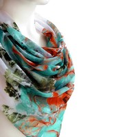 BUY ANY 3 GET 1 OF THEM FREE, large cotton scarf, blue orange scarf, romantic gift, christmas gift, large square scarf, christmas scarf, soft scarf shawl, fashion scarves