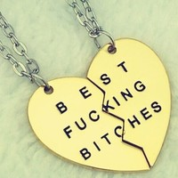 New Style Fashion Broken Heart 3 Parts Gold Best Bitches Necklaces & Pendants,Jewelry For Women,Best Gift for Friends = 5987582785