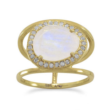 Sunlight Moonstone and Gray Diamond Ring