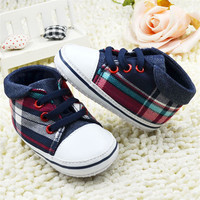 Toddler Boys Plaid Lace Up Soft Sole Shoes