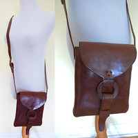Vintage 70's genuine leather structured mini crossbody bag structured hippie boho bohemian festival red brown