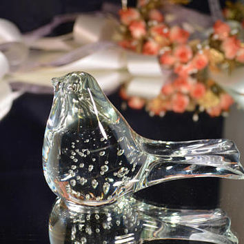 Murano glass bird hand blown Italian glass bird/ transparent hand blown glass bird / paperweight/ ships worldwide from UK