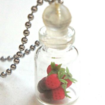 chocolate dipped strawberries in a jar necklace