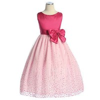 Sweet Kids Girls Fuchsia Dot Taffeta Flower Girl Pageant Dress 2T-12