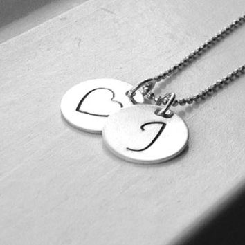 Large Initial Heart Necklace, Sterling Silver Initial Necklace, Letter J Necklace, Letter J Pendant, Heart Necklace, Charm Necklace
