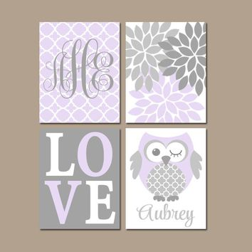 OWL Nursery Wall Art, Lilac Gray Owls, CANVAS or Prints, Whimsical Owls, Baby Girl Owl Decor, Girl Monogram Wall Decor, Set of 4 Decor