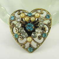 Vintage Brass Heart Pendant - Pin  Paste, Pearls Scroll Openwork Brooch