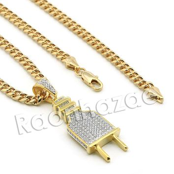 Lab diamond Micro Pave Slim Electronic Plug Pendant w/ Miami Cuban Chain BR051