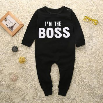 bBaby Romper Autumn Winter Long Sleeve Newborn Romper letter I am the Boss One Pieces Baby Boy Girls Romper Cool Outfits