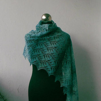 Turquoise hand knitted merino lace shawl, knit lace scarf