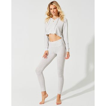 Beach Bunny Grey Cream Cameron Crop Hoodie & Cameron Legging Set