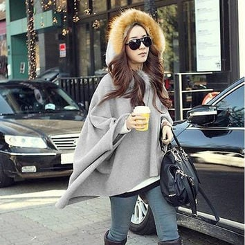 Women's Cape Batwing Sleeve Wool Poncho Hooded Jacket Lady Winter Warm Coat  7_S (Color: Dark gray) = 1917008580