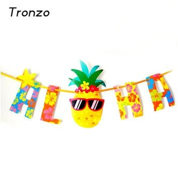 Tronzo  Aloha Hawaii Party Pennant For Tropical Party Summer Beach Garland Glitter Gold Letter Hanging Banners Luau  Decor