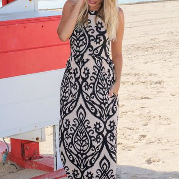 Black and Taupe Halter Neck Printed Maxi Dress with Keyhole Back