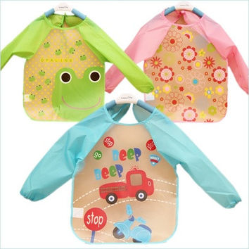 New Cute Baby Toddler Waterproof Long Sleeve Kids Feeding Art Smock Bib Apron [8322968321]