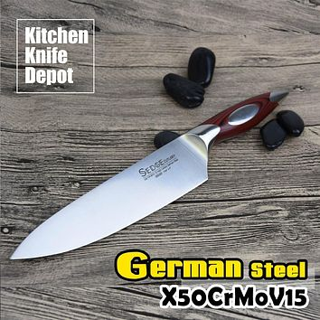 SEDGE 8 Inch Chef Knife Kitchen Blade High Carbon German Stainless Steel X50CrMoV15 With G10 Handle Slicing Cutting Meat Cooking