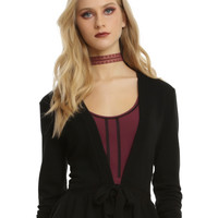 Black Ruffle Hem Tie Front Girls Cardigan