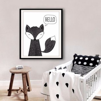 Hello Fox Art print Canvas Poster, Modern nursery Decor, Fox Kids room decor, Wall art Home Decoration, Frames Not included