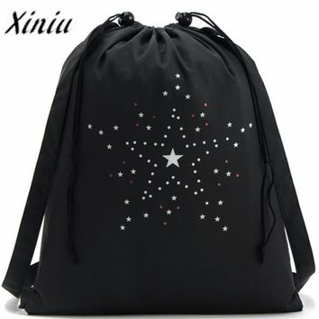 Xiniu 2017 Women Backpack Bags Women Drawstring Stars Printing Bag Schoolbag Storage Backpack Rucksack mochila feminina Dropship